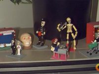"Here are some of the Mexican skeleton figurines, or ""Calaveras"" that were the inspiration for Grim Fandango."