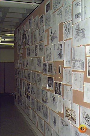 The Wall! All hail the mighty wall of Fandango concept art by Peter Chan, Peter Tsacle, and Chris Miles! It is customary for other project leaders in the company to make a pilgrimage to The Wall and stuff little scraps of paper between the drawings, each piece of paper containing a prayer in hopes that someday they, too, will make a game this good.